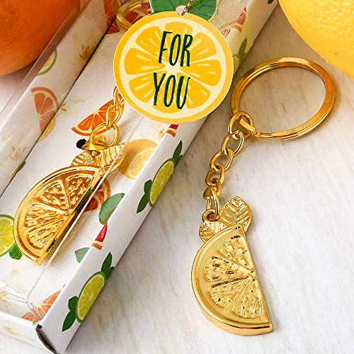 FavorOnline Citrus Slice Gold Tropical Key Chain in A Box, 72