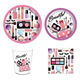 Spa Day Party Supplies,Makeup Birthday,Nail Girl Decorations,Make up Set Includes Disposable Dinner Plates,Dessert Plates,Cups,Napkins,Straw,Serves 16 Guests,88PCS