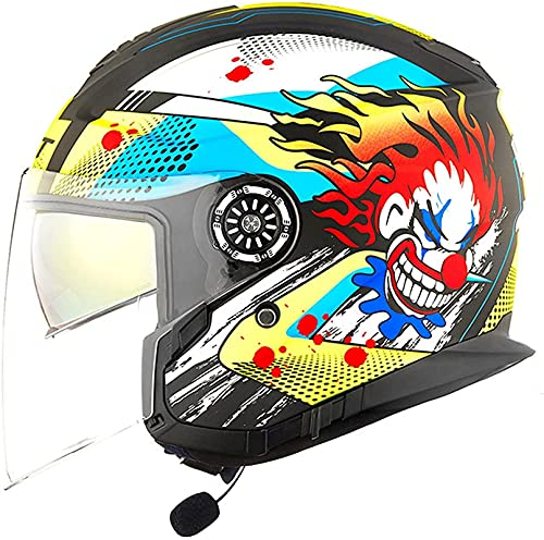 XIAOER Bluetooth Motorcycle Jet Helmets, Cascos de la Cara Abierta de la Motocicleta con Lente antiiezuela de Alta definición, Certificación ECE Medios Cascos con función de Respuesta automática I, L