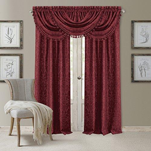 Elrene Home Fashions 20863ELR Antonia Blackout Rod Pocket/Back Tab Window Curtain Panel,Rouge,Valance