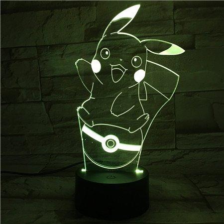 Lampara LED Pokémon Pikachu Pokéball Cambia Color USB Luz Nocturna