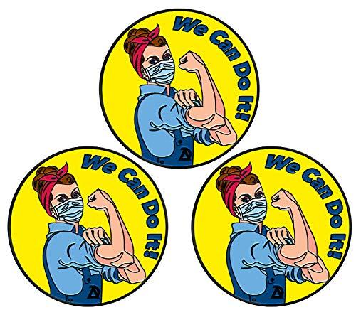 COVID-19 Coronavirus Lapel Pin - We can do it Covid 19 Enamel Jacket Lapel Pin - Mask Rosie The Riveter Backpack Pin - Memorial Corona Pin Brooch Badges Clothes Bags Shirt (3 pins)
