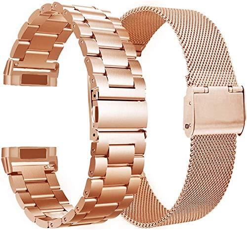 VIGOSS Compatible con correas Galaxy Watch Active de 40 mm/Galaxy Watch 42 mm, correa de malla de acero inoxidable de 20 mm para reloj inteligente Galaxy Watch Active (oro rosa, metal + malla).