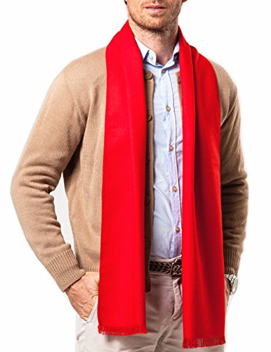 Shubb - Sciarpe da uomo, alla moda, per l'inverno, in morbido cashmere, da uomo, 188 cm x 23 cm Rosso L