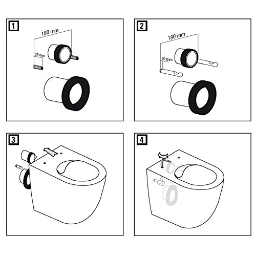 Design Wand-Hänge-WC Toilettenschüssel Tiefspüler inkl. WC Sitz aus Duroplast mit Metallscharnieren Absenkautomatik Spülrandlos Rimfree Nanobeschichtung Randlos KB-DE6ZPW - 5
