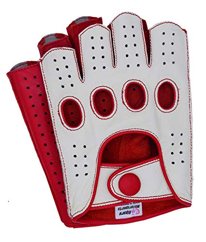 Riparo Mens Leather Reverse Stitched Fingerless Half-Finger Driving Motorcycle Gloves (X-Small, White/Red)