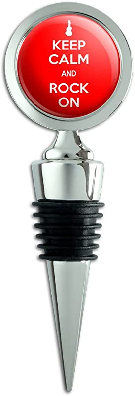 Keep Calm And Rock On Music Guitar Wine Bottle Stopper
