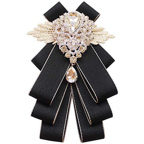 Fashion Handmade Diamond black Bow Tie Wedding Collar Bowtie Brooch jabot collar brooch pins fashion PreTied Neck Tie Bow Tie Adjustable Belt with Clip cravat (black)