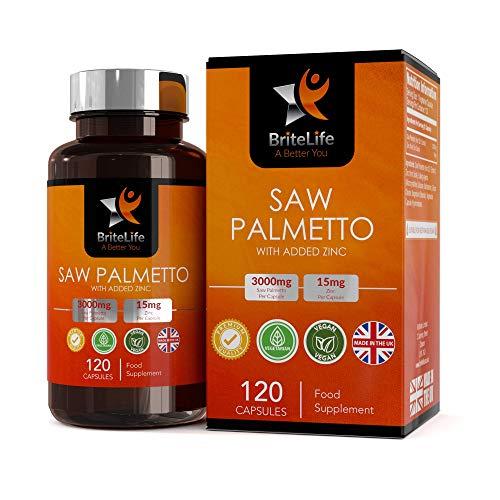 BL Saw Palmetto Complément Alimentaire pour Prostate | Gélules de Palmier Nain 3000 mg avec Zinc 15mg | 120 Capsules Végétaliennes | 4 mois Formule forte | DHT Blocker | Sans OGM