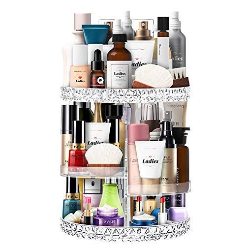 Ubitree Beauty Organizer, Make Up Kosmetik Organizer 360°Drehbar Beauty Schmink Aufbewahrung Kosmetikbox für Dresser Schlafzimmer Badezimmer, Transparent Kristallklar