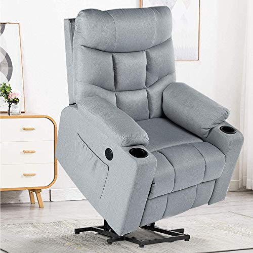 YODOLLA Electric Powr Lift Chair, Gray Recliner Chair Sofa with Massage & Heat Function, Reclining Chair with Side Pockets and Cup Holder, USB