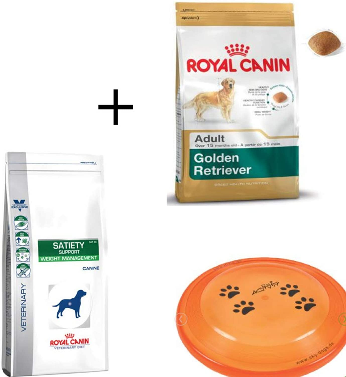 Royal Canin Diet Dry Dog Food Bundle  Veterinary Satiety Support 12kg golden Retriever Adult 12kg bundled 23cm Trixie Dog Activity Disc  Active, Healthy, Life style your Doggy