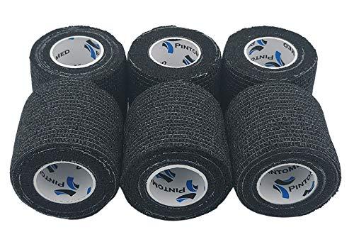Venda Cohesiva Negro 6 Rollos x 5 cm x 4,5 m Autoadhesivo Flexible Vendaje, Calidad Profesional, Primeros Auxilios, Lesiones de los Deportes, Rodillos embalados Individualmente - Pack de 6