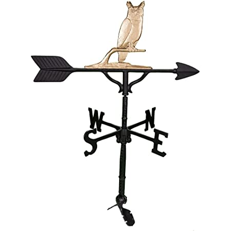 Montague Metal Products 32-Inch Weathervane with Gold Owl Ornament