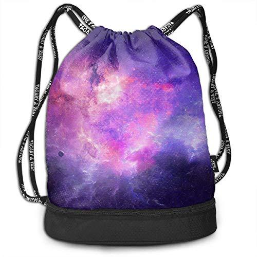 PmseK Turnbeutel Sportbeutel Kordelzug Rucksack, Galaxy Draw String Bags Gym Cinch Storage Bag for Traveling Hiking