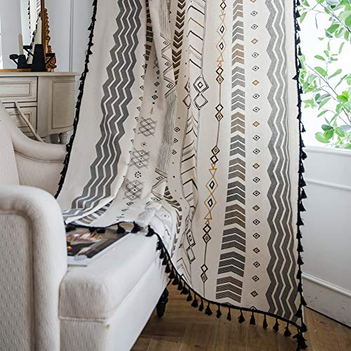 ColorBird Geometric Semi-Blackout Window Curtains 2 Panels Tribal Style Cotton Linen Darkening Curtains with Black Bordered Tassel Rod Pocket Window Drapes for Living Bedroom, 59W x 63L Inch, 1 Pair