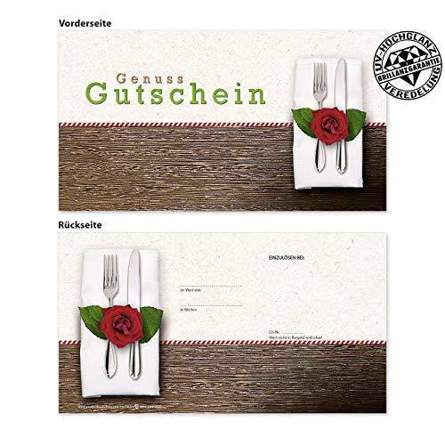 100 hochwertige Gutscheinkarten Geschenkgutscheine. Vorderseite hochglänzend. Gutscheine für Restaurant Gasthaus Gastro Gasthof Hotel. G12020