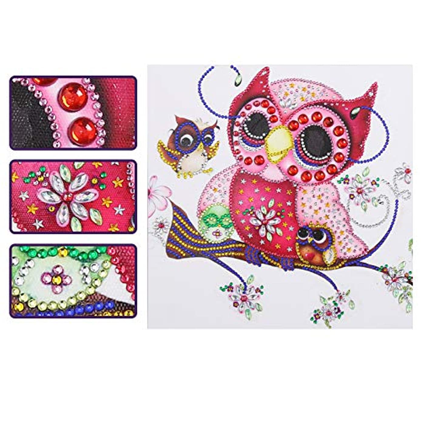 SuperDecor 5D DIY Diamond Painting Special Shaped Rhinestones Partial Drill Crystal Rhinestone Diamond Embroidery Paintings Arts Craft for Adults or Kids,Owl Stands on The Tree Trunk 12x12 Inch