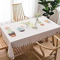 テーブルクロス グリーンコットンとリネン小さな新鮮なリビングルームコーヒーテーブル長方形のダイニングテーブルクロステーブルクロス (Color : D, Size : 140*180cm)