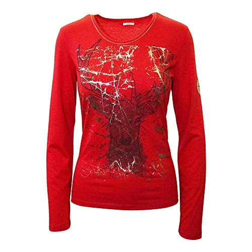 Almgwand Damen Brauneralm - Camiseta de manga larga para mujer, color negro, color rojo, tamaño small