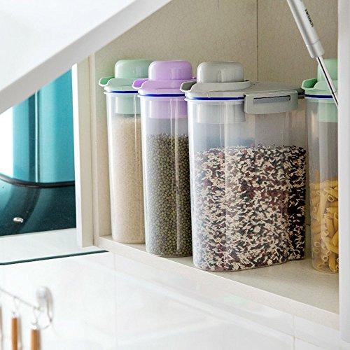 asentechuk® Transparent hermétique alimentaire Grain de rangement pour pot à céréales Boite de conservation Seau, PP, Gris, 15 x 27cm