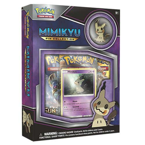 Mimikyu Pokemon TCG EX Pin Collection Sealed Box + 2 Random Booster Packs