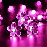 Solarlampen Blumen Schnur Lichter Außen,KINGCOO Wasserdicht 23ft/7m 50 LED Pfirsichblüte Kirschblüte Solar Lichterkette für GärtenHäuser Hochzeit Weihnachtsfeier Dekorationen(Rosa)