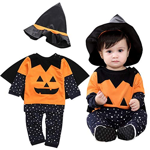 KIRI ハロウィン 魔法使い 衣装 赤ちゃん ベビー 魔術師 コスプレ かぼちゃ キッズ 男の子 4点セット (120, 魔法使い)