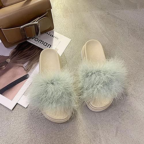 Zuecos Mujer,2021 Summer Nuevas Zapatillas Peludas, Sandalias De Desgaste De Infrarrojos para Mujer, Plataforma Femenina Flip-Flop Beach Slippers-EU 35 (22.5cm / 8.85')_Verde
