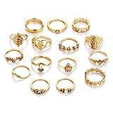 KENYG - Juego de 15 anillos de aleación de oro para mujer y niña
