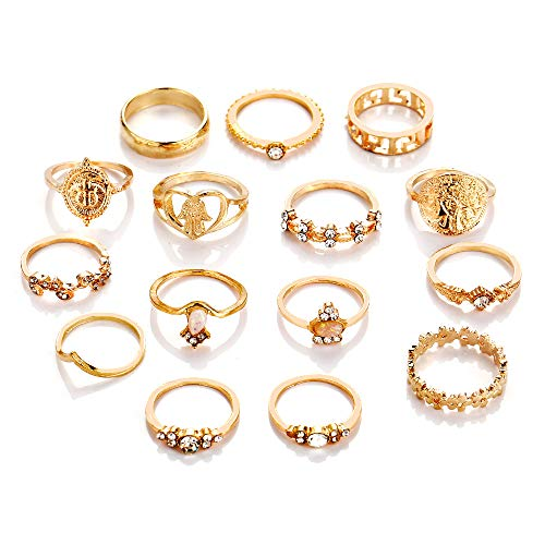 KENYG 15 PCS Ring Set Gold Alloy Joint Rings For Women Girl Lady Fashion Jewelry
