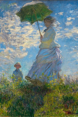 Claude Monet Woman with a Parasol Madame Monet and Her Son Cool Wall Decor Art Print Poster 24x36