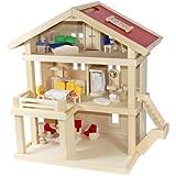 Villa Freda Puppenhaus + Hussen + Puppenhausmöbel 26teilig + Babywiege aus Holz 3 Etagen 46 x 35 x...