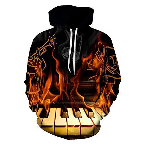 E.Rirevce 3D Sweatshirts Männer Schwarzes brennendes Klavier gedruckt lässig lose dünne Pullover mit Kapuze Burning Piano XL