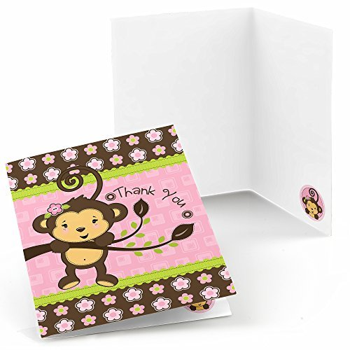 Big Dot of Happiness Pink Monkey Girl - Baby Shower or Birthday Party Thank You Cards - Set of 24