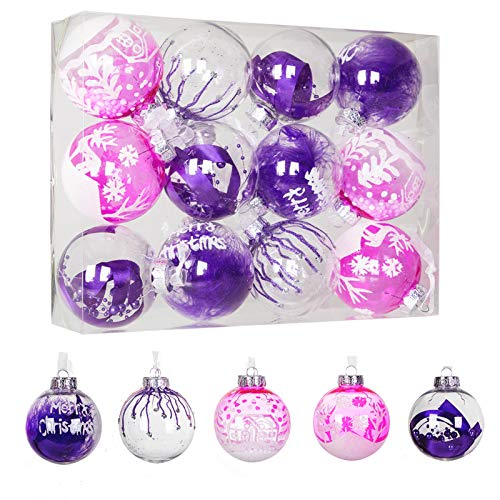 """12ct 80mm/3.15"""" Clear Plastic Christmas Ball Ornaments, Shatterproof Christmas Tree Hanging Baubles with Stuffed and Painting Decorations, for Party Holiday and Home Decor, Purple"""