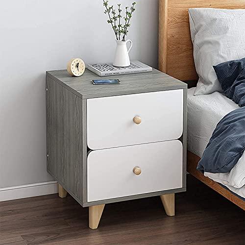 Byrå med sovrum, med 1 låda och sängbord med öppet spår, utsökta handtag Silent Rail lådskåp, massiva träben (färg: C)