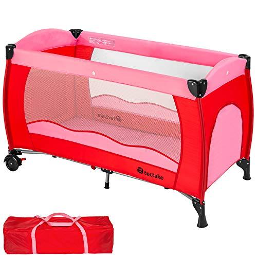 TecTake Kinderreisebett mit Schlafunterlage und praktischer Transporttasche - diverse Farben - (Pink | Nr. 402415)