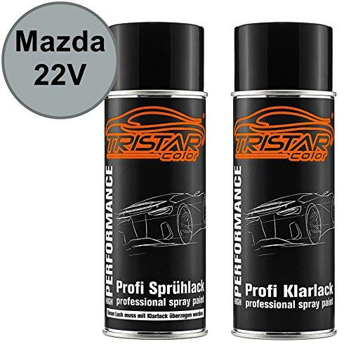 TRISTARcolor Autolack Spraydosen Set für Mazda 22V Sunlight Silver Metallic/Satinsunlight Silber Metallic Basislack Klarlack Sprühdose 400ml