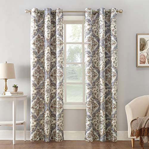 Sun Zero Regina Floral Thermal Insulated Room Darkening Grommet Curtain Panel, 40' x 84', Gray Watercolor