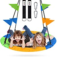 ZNCMRR 40 Inch Flying Saucer Tree Swing Set for Kids & Parent with Hanging Straps