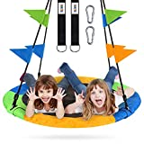 ZNCMRR Flying Saucer Tree Swing Set 40 Inch for Kids & Parent Outdoor Toys with Hanging Straps, Hooks, and Pennants, 660lb Weight Capacity, Great for Playground Swing, Backyard and Playroom