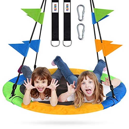 Flying Saucer Tree Swing Set 40 Inch for Kids & Parent Outdoor Toys with Hanging Straps, Hooks, and Pennants, 660lb Weight Capacity, Great for Playground Swing, Backyard and Playroom