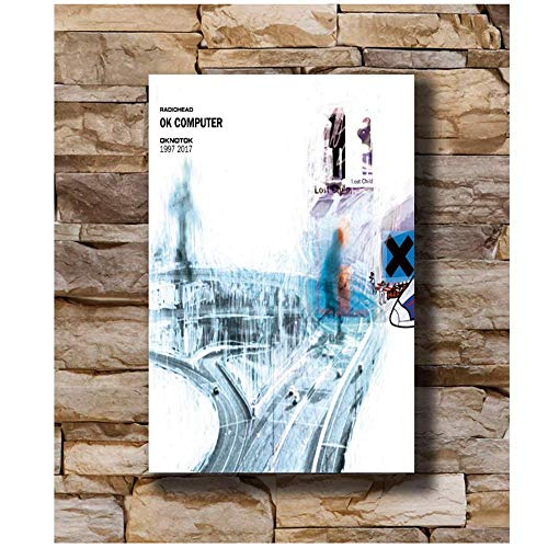 OK Computer 1997 Album Radiohead OKNOTOK Seda Poster Art Canvas Print Decoración Wall Art-20x28 pulgadas Sin marco