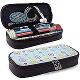 Color Dot and Rings Funda de cuero para estuche de lápices Estuche para bolígrafo con cremallera, estuche de papelería de gran capacidad