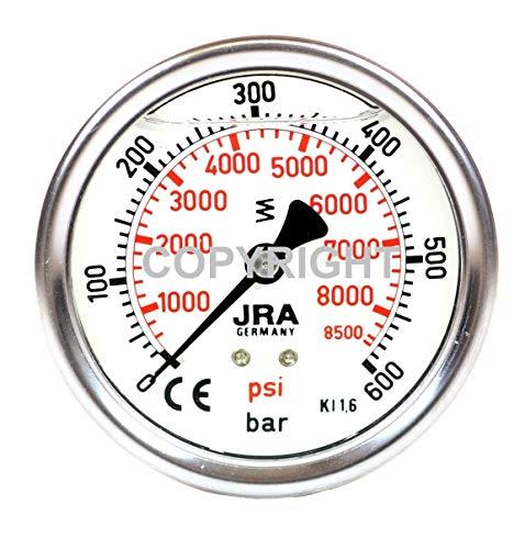 """JRA-Longlife Glyzerin Manometer 0-600 bar NG63 Anschluss hinten G1/4"""""""