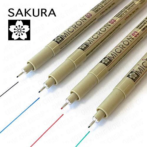 Sakura Pigma MicronFineliner4er-Pack Nr.03, 0.35mm–schwarz, blau, rot und grün