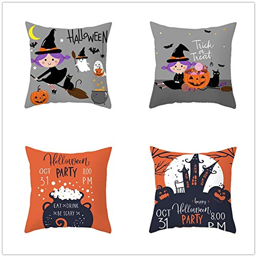 N / A Square Cushion Covers Linen Cotton with Invisible Zipper for Decorative Sofa and Couch Throw Pillow Case Halloween 4 Pack 45x45cm(18x18inch) Y668