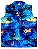 Virgin Crafts Hawaiian Shirt for Men Aloha Beach Sl-Blue L
