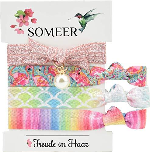 SOMEER Haarelastiek (elastisch en zacht voor het haar) | armband (festival) | incl. bedelhanger (bloemenmeisje (roze, turquoise, regenboog))